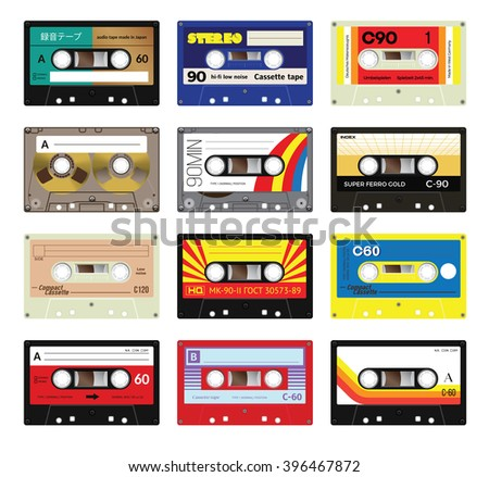 """Retro plastic audio cassette, music cassette, cassette tape. Signage in Japanese """"Audio cassette tape"""", in Russian - model number and in German - """"Unrecorded. Made by German specialists"""". - stock vector"""
