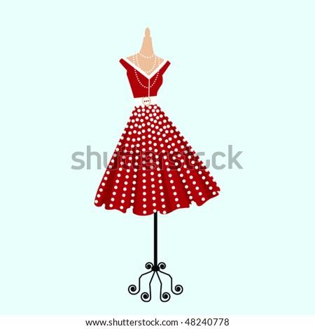 Retro polka dot dress - stock vector