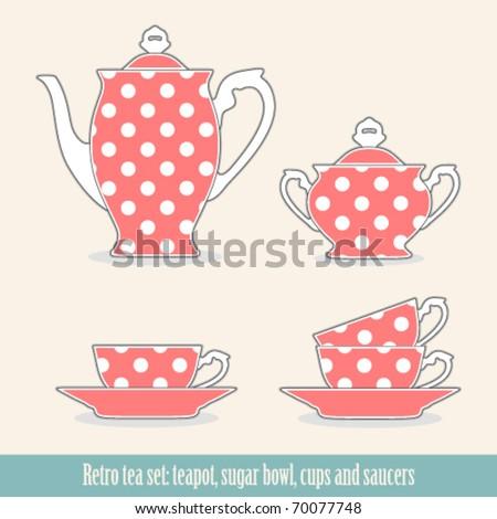 Retro polka dot tea set - stock vector