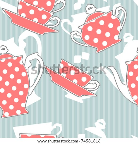 Retro polka dot tea set, seamless pattern - stock vector