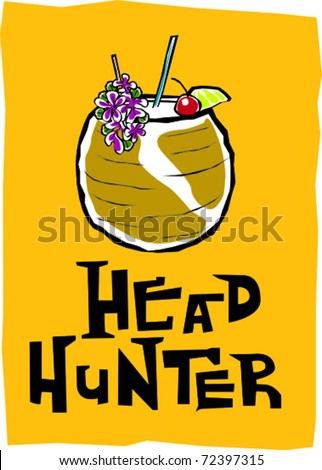 Retro Polynesian Tropical Head Hunter Tiki Cocktail Drink Vector Illustration - stock vector