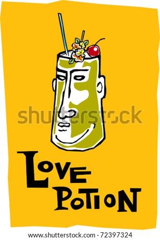 Retro Polynesian Tropical Love Potion Tiki Cocktail Drink Vector Illustration - stock vector