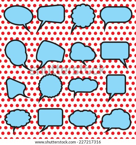 Retro pop art speech bubble set - stock vector