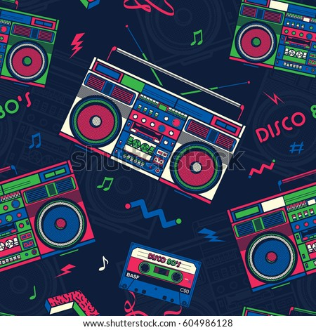 Retro Pop Eighties Boombox Radio Seamless Stock Vector ...