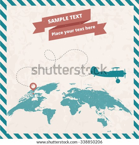 Retro postage stamp with biplanes and world map. Vector vintage illustration - stock vector