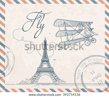 Retro postage stamp with triplane and Eiffel tower. Vector vintage illustration - stock vector