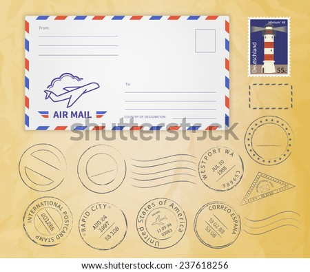 Retro postage stamps collection with realistic envelope with frame template for air mail and place for postmark and postage stamp on textured old paper - stock vector