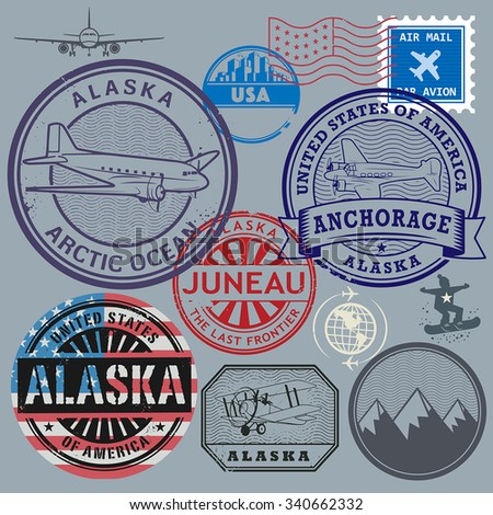 Retro postage USA stamps set, vector illustration - stock vector