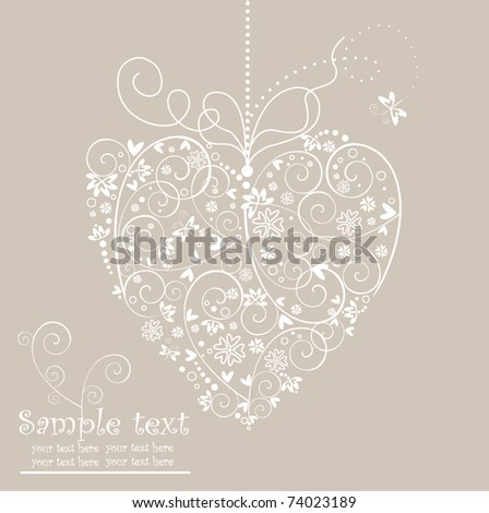Retro postcard with heart shape - stock vector