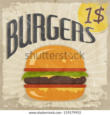 Retro poster Burgers with price - stock vector