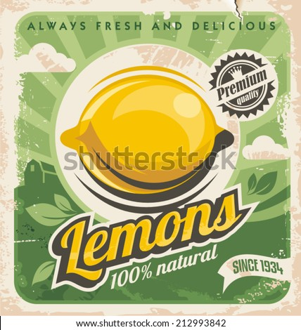 Retro poster design for lemon farm. Vintage vector label design concept.Vector old paper texture food background. Fruits document template. - stock vector