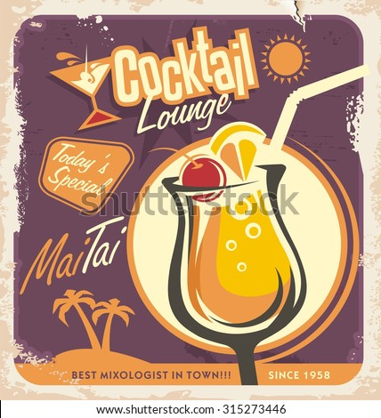 Retro poster design for one of the most popular cocktails. Vintage menu template for cocktail lounge. Drink glass on old paper texture. Document or ad layout concept. - stock vector
