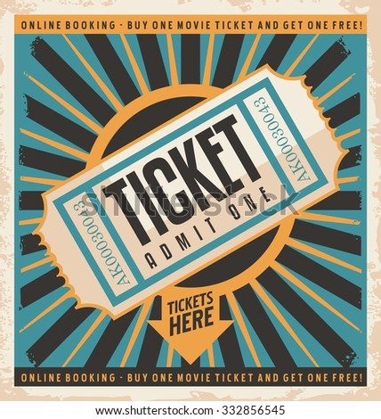 Retro Poster Design Online Booking Tickets Stock Vector (2018 ...