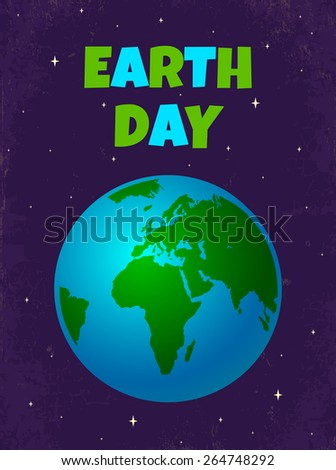 Retro poster for Earth day  - stock vector