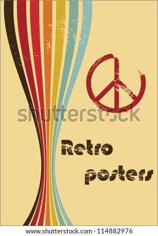 retro poster hippy - stock vector