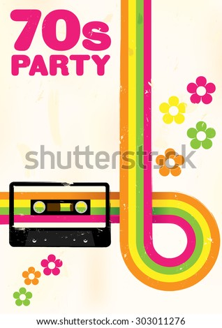 Retro Poster - 70s Party Flyer With Audio Cassette Tape - stock vector