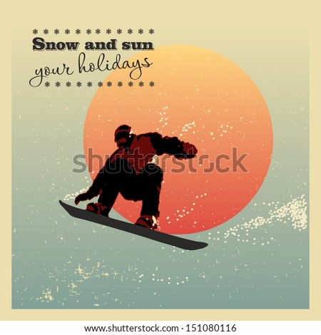 Retro poster. snowboarder flying against the evening sun - stock vector