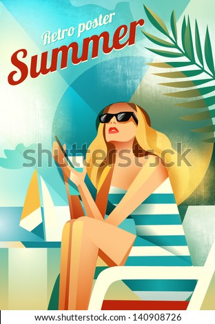 Retro poster with a girl sitting on the beach. Vector - stock vector