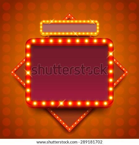 Retro poster with neon lights square board vector background - stock vector