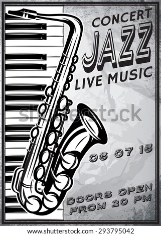 retro poster with saxophone and grand piano for jazz festival - stock vector