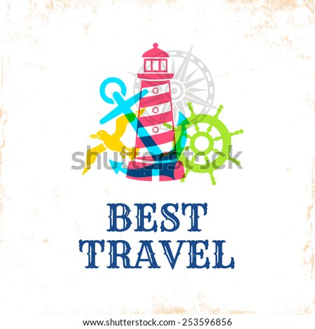 Retro poster with travel symbols - stock vector