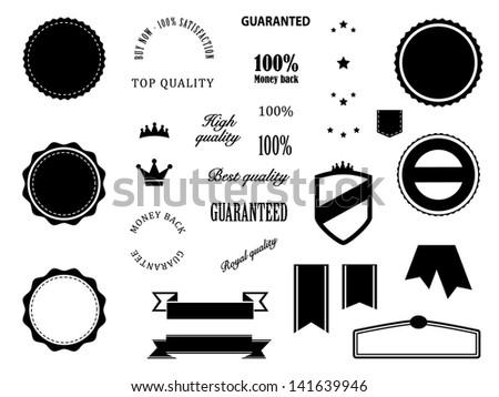 Retro Premium Quality and Guarantee badges elements - stock vector