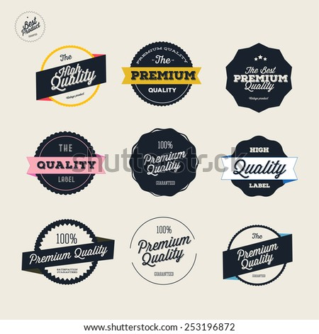 Retro Premium Quality Labels Set - stock vector