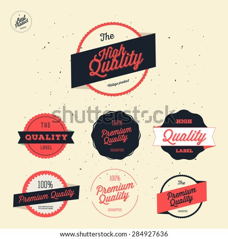 Retro Premium Quality Labels Set / Badges / Guaranteed  - stock vector