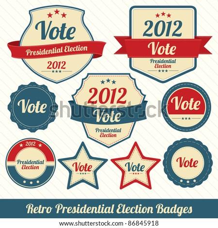 Retro Presidential Election Badges - stock vector