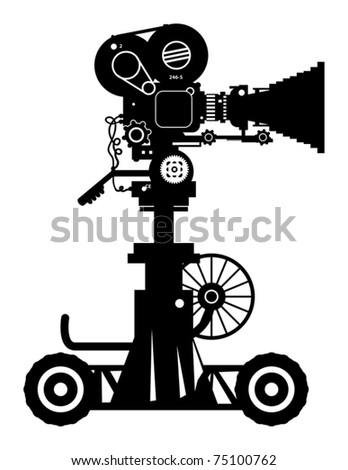Retro professional cinema film camera, vector illustration - stock vector