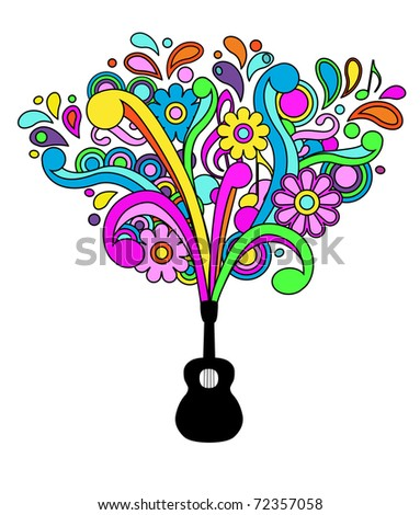 Retro psychedelic guitar background vector - stock vector
