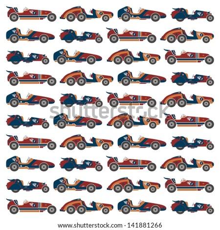 retro race car all background - stock vector