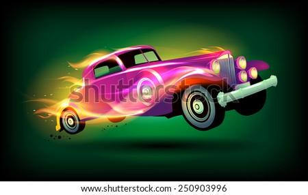 Retro racing car cartoon design. - stock vector