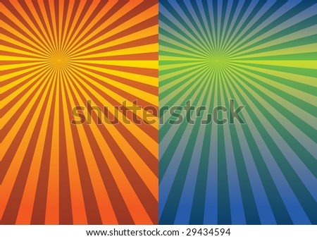 Retro Radial Background in two color sets - stock vector