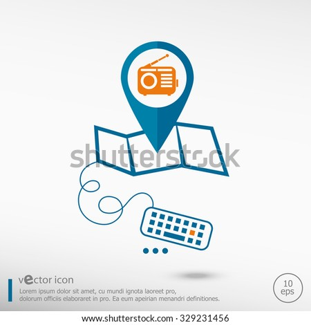 Retro radio and pin on the map. Line icons for application development, creative process.  - stock vector