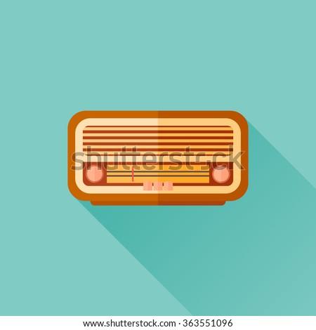 Retro radio flat icon with long shadow. Vector illustration. - stock vector