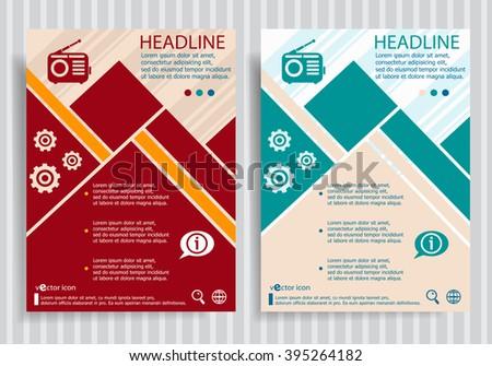 Retro radio flat symbol modern flyer, brochure vector template. - stock vector