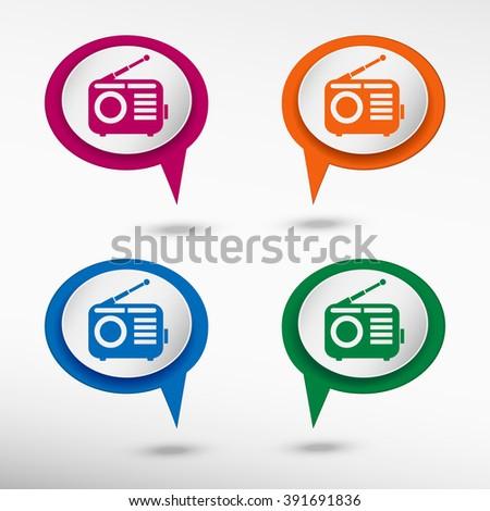 Retro radio icon on colorful chat speech bubbles - stock vector