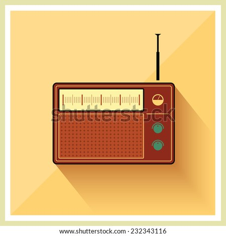 Retro radio receiver vintage vector - stock vector