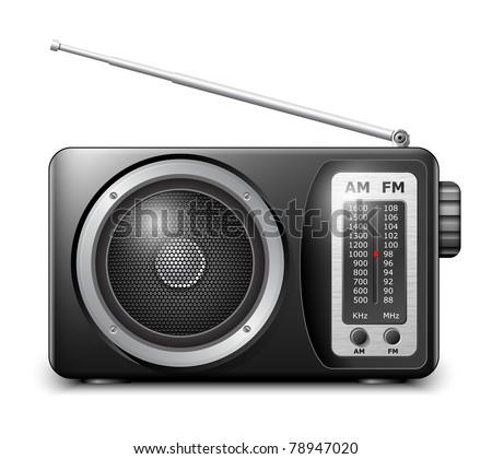 Retro radio, vector - stock vector