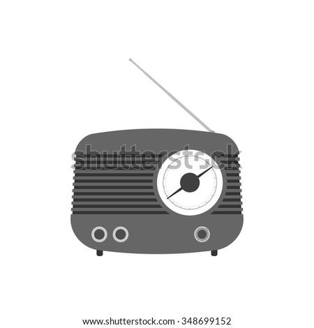 Retro radio vector design. Old radio receiver illustration. - stock vector