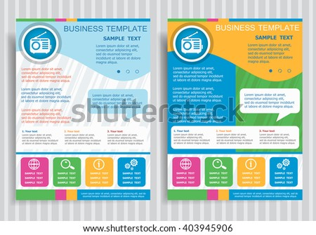 Retro radio vector icon on vector Brochure Flyer design Layout template, size A4. Easy to use and edit. - stock vector