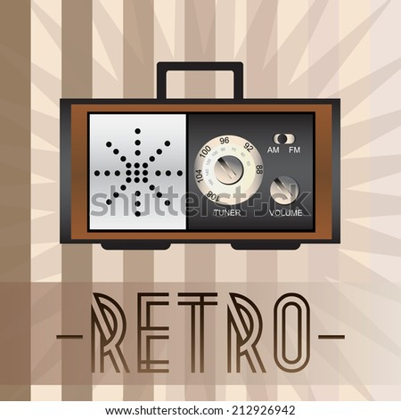 Retro radio with old fashioned background - stock vector