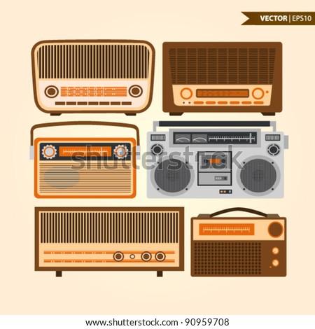 Retro radios - stock vector