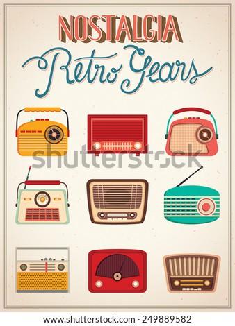 Retro radios poster A poster with nine vintage radios - stock vector