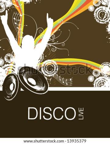 Retro Rainbow Music Fan Vector Illustration - stock vector
