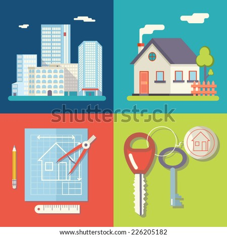 Retro Real Estate Symbols Private House Construction Plan Keys Set City Apartment Icons Trendy Modern Flat Design Template Vector Illustration - stock vector