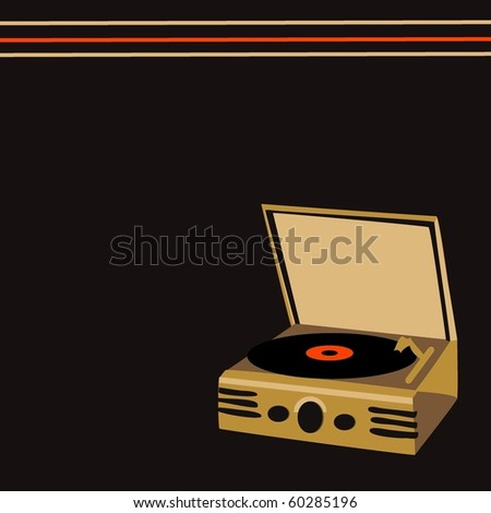 Retro Record Player/Turntable - stock vector