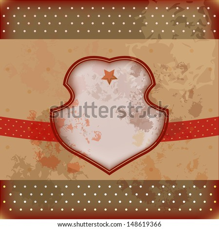 Retro red and beidge vector well-crafted greeting card for different occasions: birthday or houseworming party, Christmas, New Year, invitation, menu design or another event  - stock vector