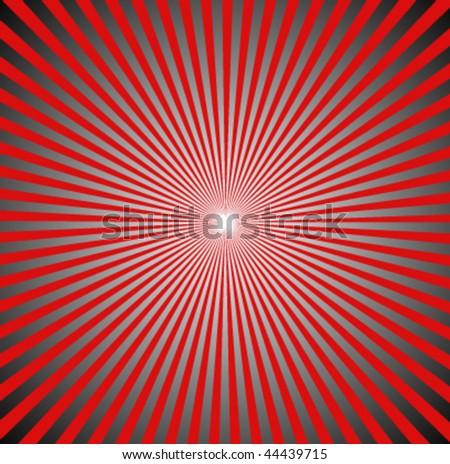 Retro Red and Black Radial Sunburst Vector - stock vector